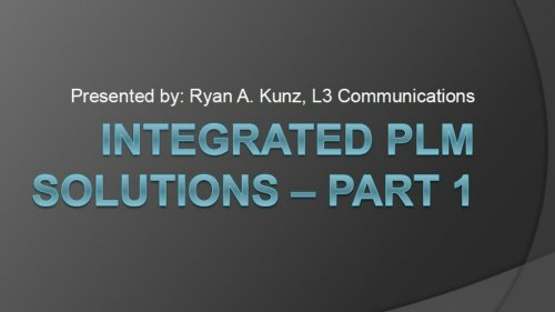 Integrated PLM Solutions at L-3 Communications - Part I video thumbnail